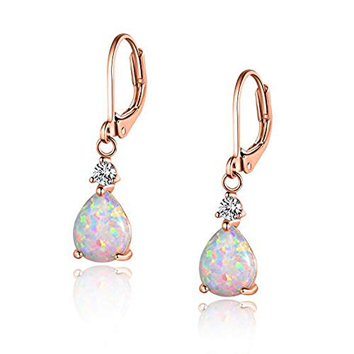 CiNily Rose Gold Plated Teardrop Opal Dangle Earrings For Women Gemstone Leverback Earrings