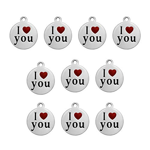(Mystart 10 Pcs 316L Stainless Steel I Love You Small Round Tag Pendants Charms for Jewelry Crafts Making)