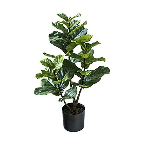 BQEE 1001 Artificial Fiddle Leaf Fig tree Ficus Lyrata、Ficus Lyrata、Artificial Plant for Home Decor (3-Feet)