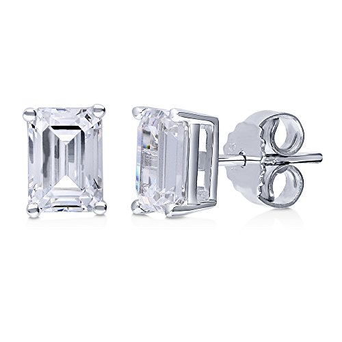 BERRICLE Rhodium Plated Sterling Silver Solitaire Stud Earrings Made with Swarovski Zirconia -