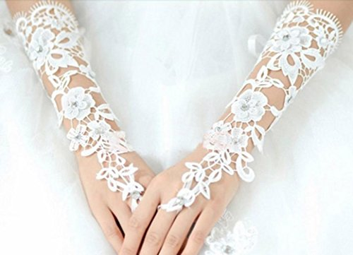 Pearl Beaded Fingerless Gloves (Voberry Lace Beaded Bridal Gloves Fingerless Pearl For Wedding Bride Gloves)