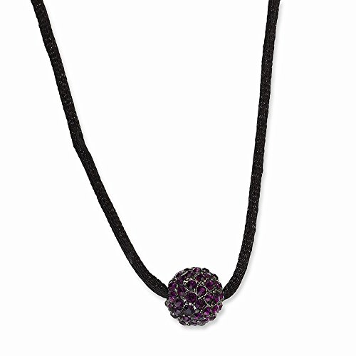 (ICE CARATS Black Plated Purple Glass Stones Fireball 16 Inch Extension Chain Necklace Pendant Charm Cord Bead Station Fashion Jewelry Gifts for Women for Her)