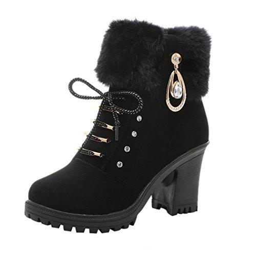 Inkach Women Martin Boots Winter High Heels Ankle Booties Warm Plush Shoes Black