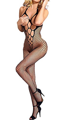Dovee Sexy Funny Adult Sex Tempting Mesh Pantyhose Lingerie Bodysuit Open Crotch&Bust Nightwear Tights Bodystockings (Black)