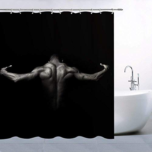 Afagahahs Concise Shower Curtain Strong Man with Cool Sexy Back Muscles Bath Decor Polyester Fabric Mildew Resistant Bathroom Accessories Include Hooks Solid ()