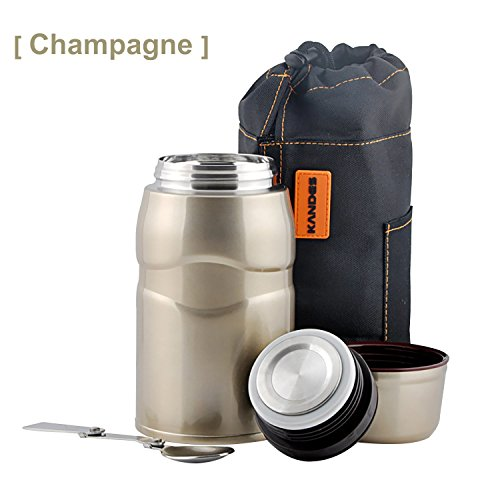 Vacuum Insulated Stainless Steel Food Jar, Double Walled Leak Proof Thermal Food Flask with Folding Spoon, Handbag, Storage Container Cup for Kids for Picnic/Camping/Travel, 25.6oz (Champagne Gold)