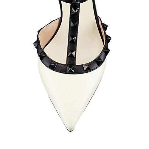 MERUMOTE Rivets Rockstuds Heels White Heel Strappy Matte Dress Women Sandals Shoes Low rxqpCrwg