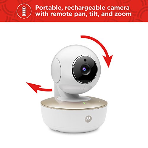 Motorola MBP855CONNECT Portable 5″ Video Baby Monitor with Wi-Fi Viewing, Rechargeable Camera, Remote Pan, Tilt, Zoom, Two-Way Audio, and Room Temperature Display