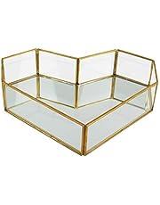 Vintage Glass Tray for Decoraive Vanity Perfume Jewelry Trinket Countertop Holder Dresser Cosmetic Organizer Ornate Bathroom Dish Display(Heart)