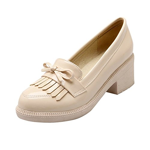 Carolbar Women's Lovely Concise Bow Mid Heel Tassels Loafer Shoes Beige