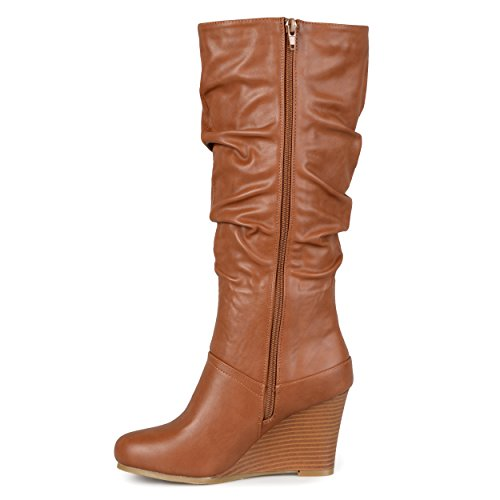 Journee Collection Womens Regular Sized and Wide-Calf Slouch Knee-High Wedge Dress Boot Chestnut dhTb1