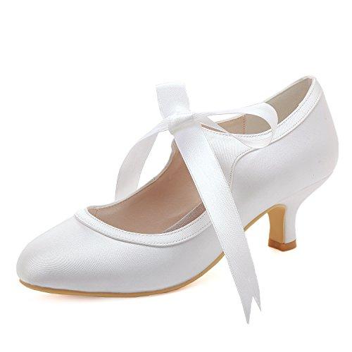 ElegantPark HC1803 Women Mary Jane Pumps Mid Heel Closed Toe Ribbon Satin Bridal Wedding Shoes White US ()