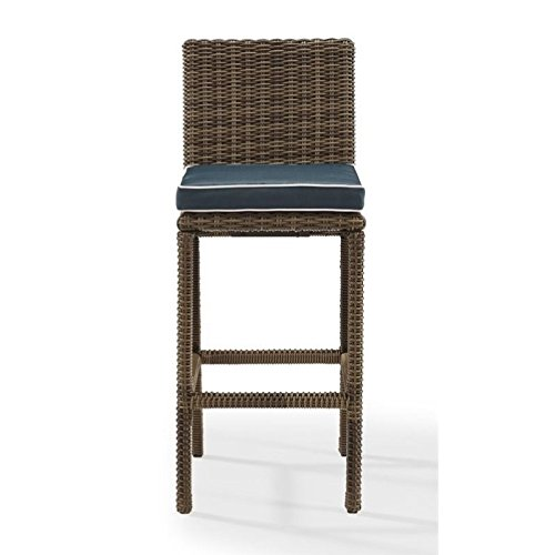 Crosley Furniture Bradenton Outdoor Wicker 29-inch Bar Stools - Weathered Brown with Navy Cushions (Set of 2) (Stools Bar Clearance 29)