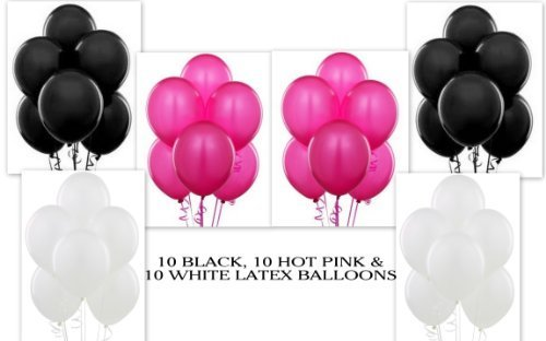 12 Hot Pink 12 Black 12 White Party Balloon Kit -