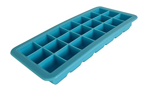 Finelo Silikon Eiswürfelbereiter Eiswürfelform mit Deckel für 21 Eiswürfel Blau