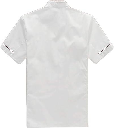 WYCDA Uniforme de Cocinero Chaqueta Manga Corta Cocina Cocinero Hombre Mujer de Algodón Ropa Trabajo Hotel Duradero Confortable Protección del Medio Ambiente Disfraz de Chef,Redshortsleeves,S: Amazon.es: Hogar