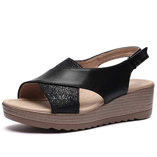 (CINAK Women Platform Wedge Sandals-Comfort Open Toe Buckle Strap Summer Casual Heeled Slip-on Black)