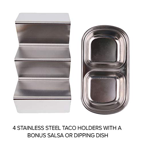 Roklur Premium Taco Holder Stainless Steel - 4 Pack Set - Safe for Oven Baking, Grill, and Dishwasher Tortilla Rack Holders for Party, Truck, and Restaurant - Bonus Serving Tray Dish by Roklur (Image #6)