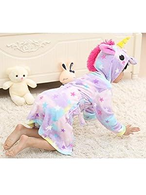 BELIFECOS Unicorn Bathrobe Kids Pool Robe Beach Cover Hooded Pajamas
