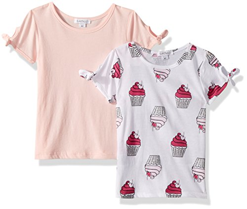 Little Girls Cupcake (Flapdoodles Little Girls' 2 Pack Tee's with Printed and Solid T-Shirt, Light Pink, 5)