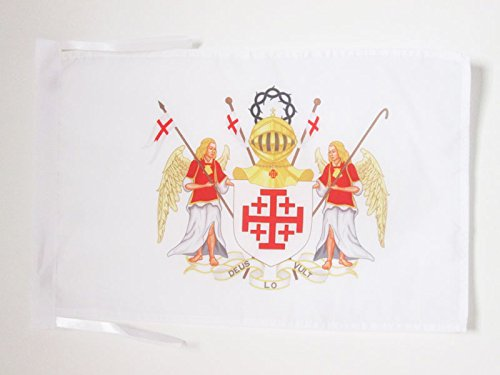 AZ FLAG Equestrian Order of The Holy Sepulchre of Jerusalem Flag 18'' x 12'' Cords - OESSH arms Small Flags 30 x 45cm - Banner 18x12 in (Equestrian Order Of The Holy Sepulchre Of Jerusalem)
