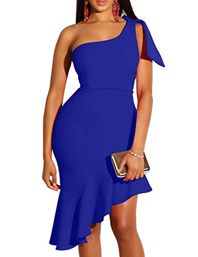 (Mokoru Women's Sexy One Shoulder Sleeveless Ruffle Bodycon Midi Club Party Dress, XX-Large, Royal)