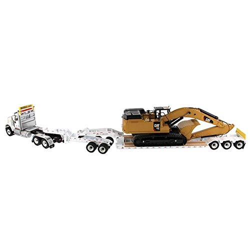 International HX520 Tandem Tractor White with XL 120 Lowboy Trailer and CAT Caterpillar 349F L XE Hydraulic Excavator Set of 2 Pieces 1/50 Diecast Models by Diecast Masters 85600 by Diecast Masters (Image #4)