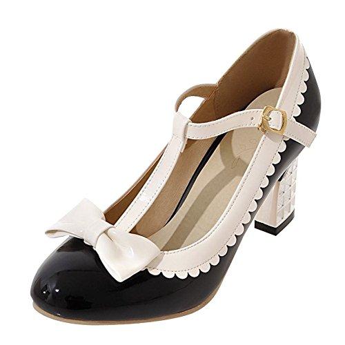 YE Damen Mary Jane Chunky Heels Pumps Lack High Heels Geschlossen mit Riemchen und Blockabsatz 5cm Bequem Schuhe Schwarz