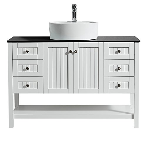 """(Vinnova 756048-WH-BG-NM Modena 48"""" Vanity Glass Countertop with White Vessel Sink Without Mirror )"""