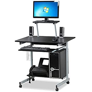 Go2buy Small Spaces Computer Desk With Keyboard Tray Drawer And Printer  Shelves Mobile Laptop Table Workstation