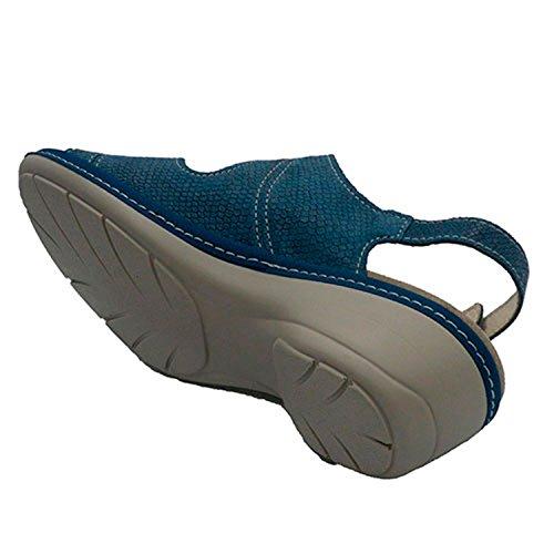 Made en Lumel avec Bleu Spain Femme In Velcro Sandales 0A0rz1c