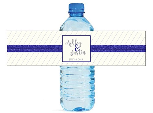 Blue Glitter & Pin Stripes Wedding Birthday Anniversary Water Bottle Labels Self - Stick Self Stripes