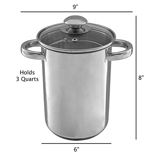 Asparagus Steamer Pot with Mesh Basket-3 Quart Stainless Steel Vegetable Cooker with Tempered Glass Lid-Essential Kitchen Tool by Classic Cuisine (Renewed) ()