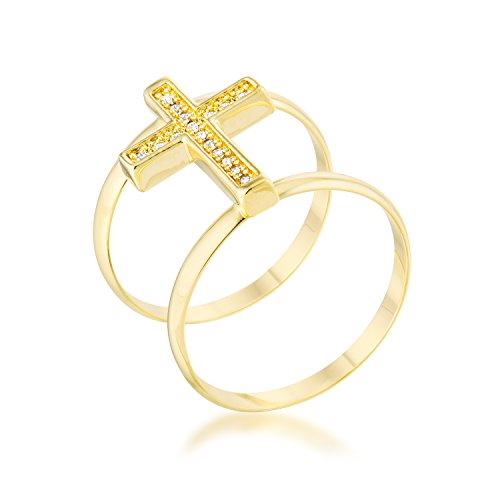 Classic | Contemporary | Simple Ring for Woman Clear Round Cubic Zirconia Pave Setting Size 10 - Contemporary Ring Settings