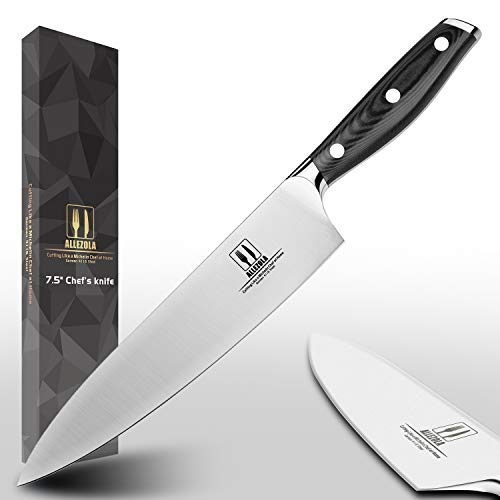 Allezola Professional Chef's Knife, 7.5 Inch German High Carbon Stainless Steel Cooking Knife, Very Sharp, Balanced Comfortable Handle, Multipurpose Top Kitchen Knife for Home and Restaurant