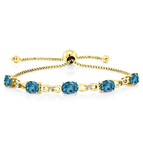 Gem Stone King 4.50 Ct Oval London Blue Topaz 18K Yellow Gold Plated Silver Diamond Bracelet
