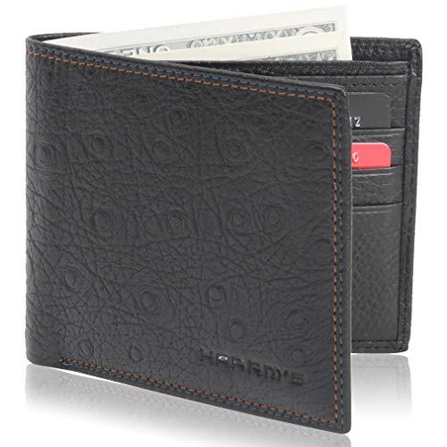 Harrm's Mens Slim Minimalist Front Pocket RFID Blocking Leather Wallets for Men Women, 1 Pack, Black Round
