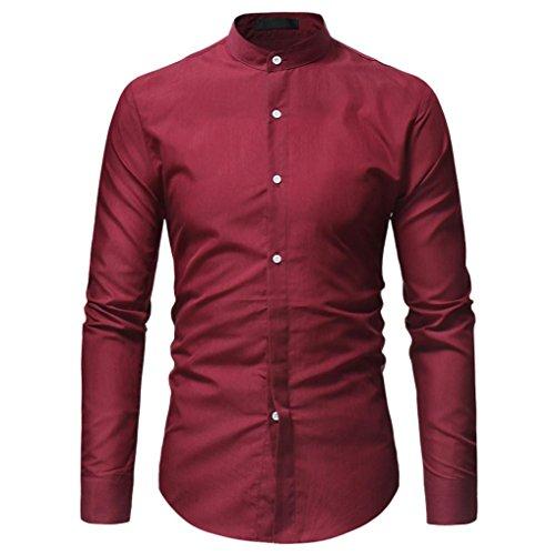 kaifongfu Dress Shirt, Clearance Sale Men's Long Sleeve Slim Pure Color Button Shirt(Red,L)
