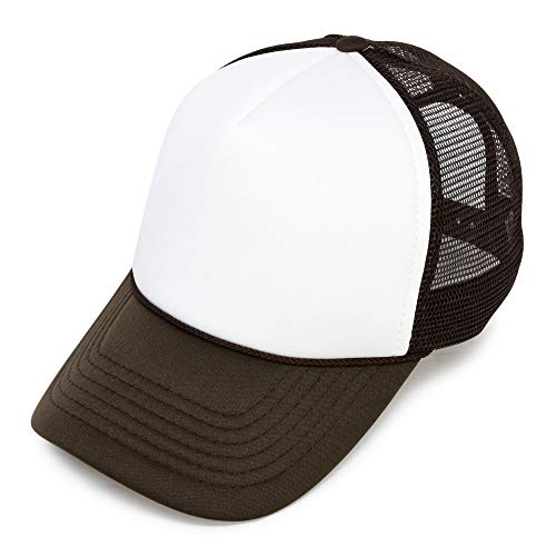 DALIX Blank Hat Two Tone Summer Mesh Cap in Brown and White Trucker Hat