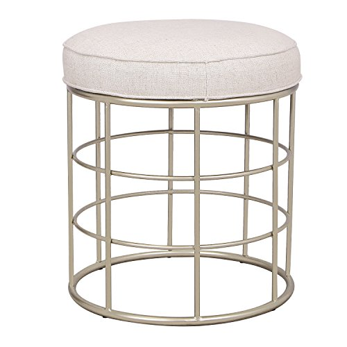 DecentHome Round Ottoman Footstool Vanity Chair with Golden Iron Base Off White Fabric Round Top