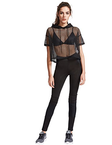 0c07578fea MakeMeChic Women's Fishnet Hooded See Through Sheer Pure Mesh Crop Top Black  XS