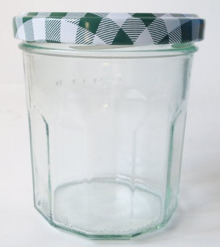 12 Wide Mouth Jam Jars & Green Gingham Lids, 324ml (10oz)