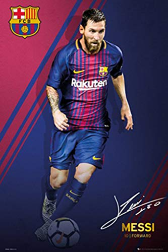 "POSTER STOP ONLINE FC Barcelona - Sports/Soccer Poster/Print (Lionel Messi - Signature - 2017/2018) (Size: 24"" x 36"")"