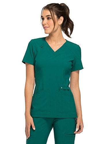 CHEROKEE iFlex CK605 Women's V-Neck Scrub Top, Hunter Green, X-Large from CHEROKEE
