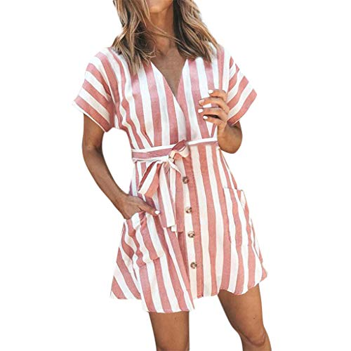 Womens Fashion Stripe Short Sleeve Wrap V-Neck Casual Summer Button Front Mini Short Shirt Dress with Belt Pink