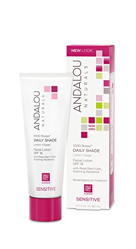 Andalou Naturals 1000 Roses Daily Shade Facial Lotion, SPF 18, 2.7 Ounce, For Sensitive, Dry, Delicate or Easily Irritated Skin, Soothes & Calms