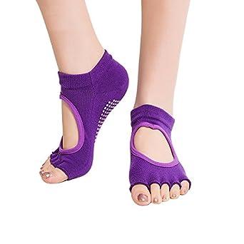 Amazon.com: Calcetines de yoga, mitad de dedo agarre ...