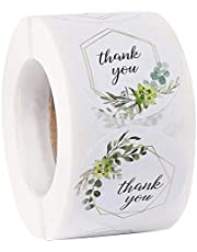 Thank You Stickers 500pcs A Roll, 1.5 inch Small Business Label 4 Greenery Designs Paper Mail Stickers for Envelope Gift Bags Treat Box