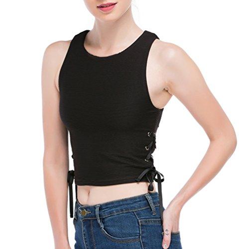 DISBEST Women's Tank Top, Round Neck Sleeveless Drawstring Sides Slim Top Vest - Drawstring Neck Top