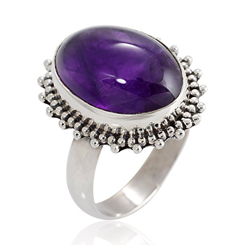 Natural Amethyst Gemstone Oval Shaped Vintage Ring Size 8